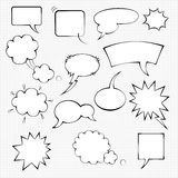 Comic speech bubble set. Monochrome templates on dotted background Royalty Free Stock Photos