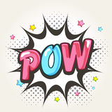 Comic speech bubble with shiny text Pow. Royalty Free Stock Photography