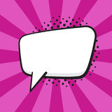 Comic speech bubble of talk trapezoidal shape. Vector illustration. Comic speech bubble of talk rectangular shape in pop art style. Empty element with contour Royalty Free Stock Photo