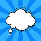 Comic speech bubble of thoughts cloud shape. Vector illustration. Comic speech bubble of thoughts cloud shape in pop art style. Empty element with contour for Royalty Free Stock Photos