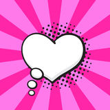 Comic speech bubble of thoughts heart shape. Vector illustration. Comic speech bubble of thoughts heart shape in pop art style. Empty element with contour for Stock Photography
