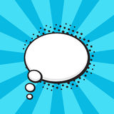 Comic speech bubble of thoughts oval shape. Vector illustration. Comic speech bubble of thoughts oval shape in pop art style. Empty element with contour for your Royalty Free Stock Photos