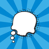 Comic speech bubble of thoughts skull shape. Vector illustration. Comic speech bubble of thoughts skull shape in pop art style. Empty element with contour for Stock Images