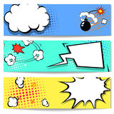 Comic speech bubble web header set with. Explosion - pop art banner comics background. Vector illustration stock illustration