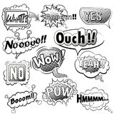 Comic speech bubbles black and white vector Royalty Free Stock Images