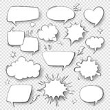 Comic speech bubbles. Cartoon comics talking and thought bubbles. Retro speech shapes vector set