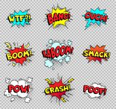 Comic speech bubbles. Cartoon explosions text balloons. Wtf bang ouch boom smack pow crash poof popping vector shapes