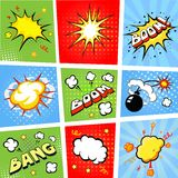 Comic speech bubbles and comic strip background Royalty Free Stock Image