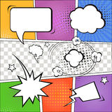 Comic speech bubbles and comic strip on colorful Royalty Free Stock Photography
