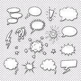 Comic speech bubbles and elements vector set Stock Photos