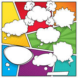 Comic speech bubbles and halftone backgrounds Royalty Free Stock Photography