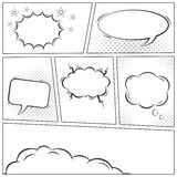 Comic speech bubbles monochrome vector background. Comic speech bubbles monochrome background. Editable vector set Royalty Free Stock Photography