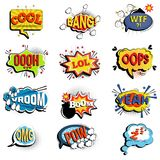 Comic speech bubbles. Onomatopoeic expressions. Lol and cool, bang and WTF, OOOH and OOPS, Vroom and yeah, boom and pow Royalty Free Stock Photography