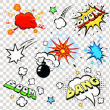 Comic speech bubbles in pop art style with bomb. Cartoon explosion Royalty Free Stock Images