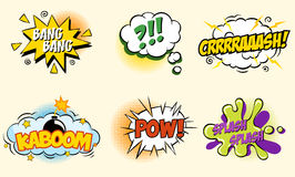 Comic speech bubbles in pop art style with bomb Stock Photography