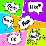 Comic speech bubbles in pop art style. Royalty Free Stock Photo