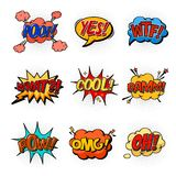 Comic speech bubbles for questions and explosion Royalty Free Stock Photo