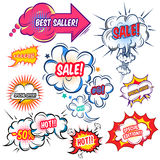 Comic Speech Bubbles With Sale Set. Set of comic speech bubbles with sale offers at explosive clouds of different shape  vector illustration Stock Image