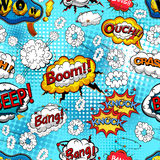 Comic speech bubbles seamless pattern with  explosions and sound effects. Vector Royalty Free Stock Images