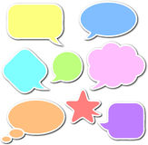 Comic speech bubbles set. Colorful, empty and blank comic speech bubbles stickers set with white border and shadow on white background Royalty Free Stock Photos