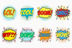 Comic speech bubbles set with emotions - LOL. COOL. BOOM. OMG. WTF. OOPS. CRASH. WOW. Cartoon sketch of dialog effects. Stock Photo