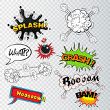 Comic speech bubbles sound effects, cloud explosion Royalty Free Stock Image