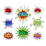 Comic speech bubbles and sound effects vector set Royalty Free Stock Photography