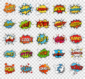 Comic speech bubbles or sound replicas. For kaboom explosion, crash and wham, oops and oh, pow and boom bomb, snap and z-z-z, omg and angry argh. Onomatopoeia Royalty Free Stock Image