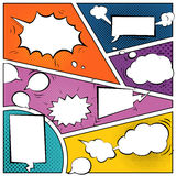 Comic speech bubbles. On a comic strip background Royalty Free Stock Images