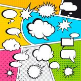 Comic speech bubbles. And comic strip on colorful halftone background vector illustration Royalty Free Stock Photography