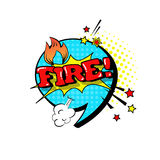 Comic Speech Chat Bubble Pop Art Style Fire Expression Text Icon. Vector Illustration Royalty Free Stock Images