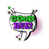 Comic Speech Chat Bubble Pop Art Style Good Bye Expression Text Icon. Vector Illustration Royalty Free Stock Images