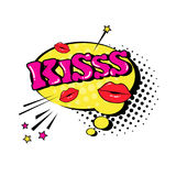 Comic Speech Chat Bubble Pop Art Style Kiss Expression Text Icon Royalty Free Stock Image