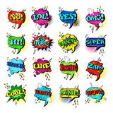 Comic Speech Chat Bubble Set Pop Art Style Sound Expression Text Icons Collection. Vector Illustration Stock Photography