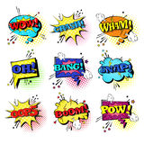 Comic Speech Chat Bubble Set Pop Art Style Sound Expression Text Icons Collection Stock Photo