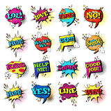 Comic Speech Chat Bubble Set Pop Art Style Sound Expression Text Icons Collection Stock Photos