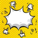 Comic speech cloud with explosion and rays on halftone yellow background. Comic speech cloud with explosion and rays on halftone background Stock Images