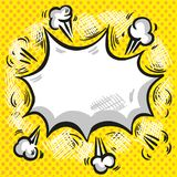 Comic speech cloud with smoke explosion and rays on halftone yellow background. Comic speech cloud with explosion and rays on halftone yellow background vector Stock Photography