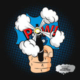 Comic speech shirt print with pistol and smoke after a shot. Royalty Free Stock Photography