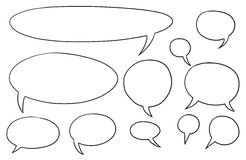 Comic Speech Text Vector Bubbles Set01. Set01 of vector speech text bubbles Stock Photo