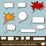 Comic speech and thought bubbles. Illustration of a comic speech and thought bubbles vector illustration