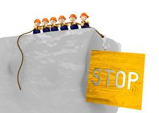 Comic stop sign 3d illustration with 3d characters. Cute 3d characters pull up a wooden stop comic 3d illustration Stock Photography