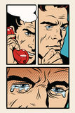 Comic storyboard man on the phone and cries Royalty Free Stock Photo