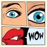 Comic storyboard woman wow surprised. Comic cartoon style pop art retro vector illustration Stock Photo