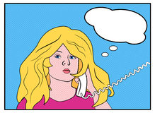Comic strip blonde calling. Comic picture od a calling woman Royalty Free Stock Photo