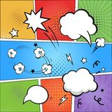 Comic strip  and comic speech  bubbles on colorful Stock Image