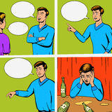 Comic strip with debate of two persons vector. Comic strip with debate of two persons and disappointing vector illustration. Comic book imitation. Pop art retro royalty free illustration