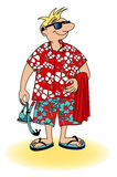 Comic strip drawing  little man going to the beach Royalty Free Stock Photo