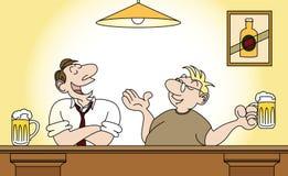 Comic strip drawing  men drinking beer Royalty Free Stock Image