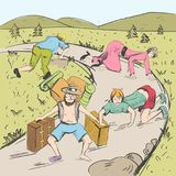 Comic strip. The end of a road is visible. Tired travelers are found a way from a mountains into civilization. People crawl on all fours and in tattered Royalty Free Stock Photos